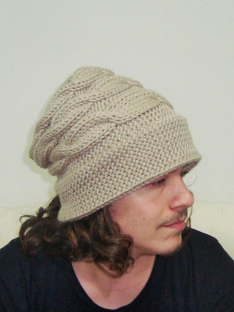 b9979c6f504 Mens Hats Winter Knit Unique Fedora Slouchy Beanie in Beige