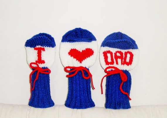 Personalized Golf Head Covers Headcover Set Of 3 I LOVE DAD