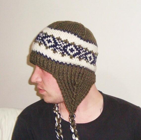 61df2a63752 mens hat winter hat hats ear flap hat Earflap Hat GREEN Knit