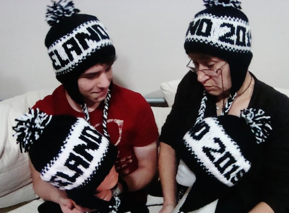 Family Matching Winter Hats With Names Word Family Hats  3e8d4527989