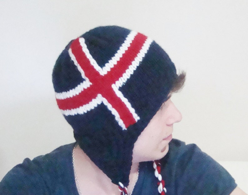 a1bb840b044 Iceland Flag Hat Hand knitted with ear flap s Icelandic