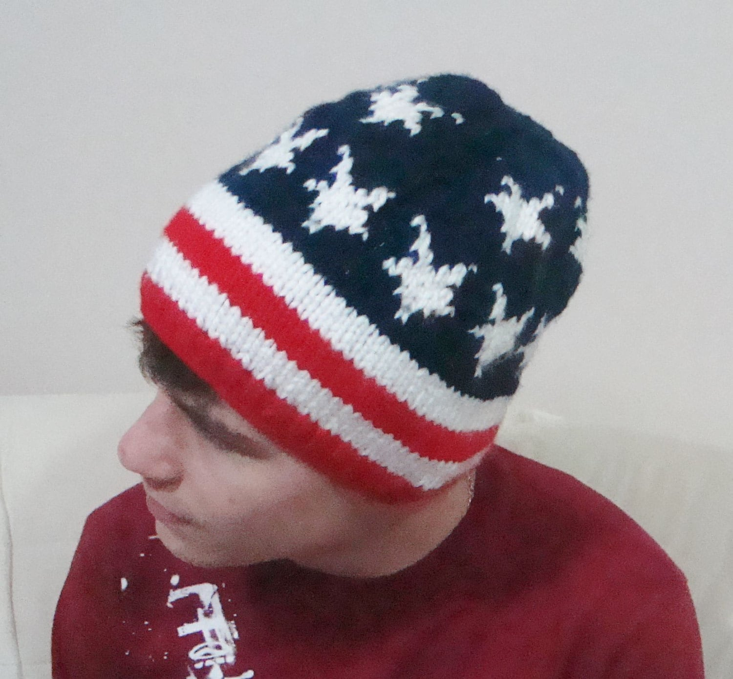 American flag hat women men beanie hat winter hand knit stars  61b44a17551