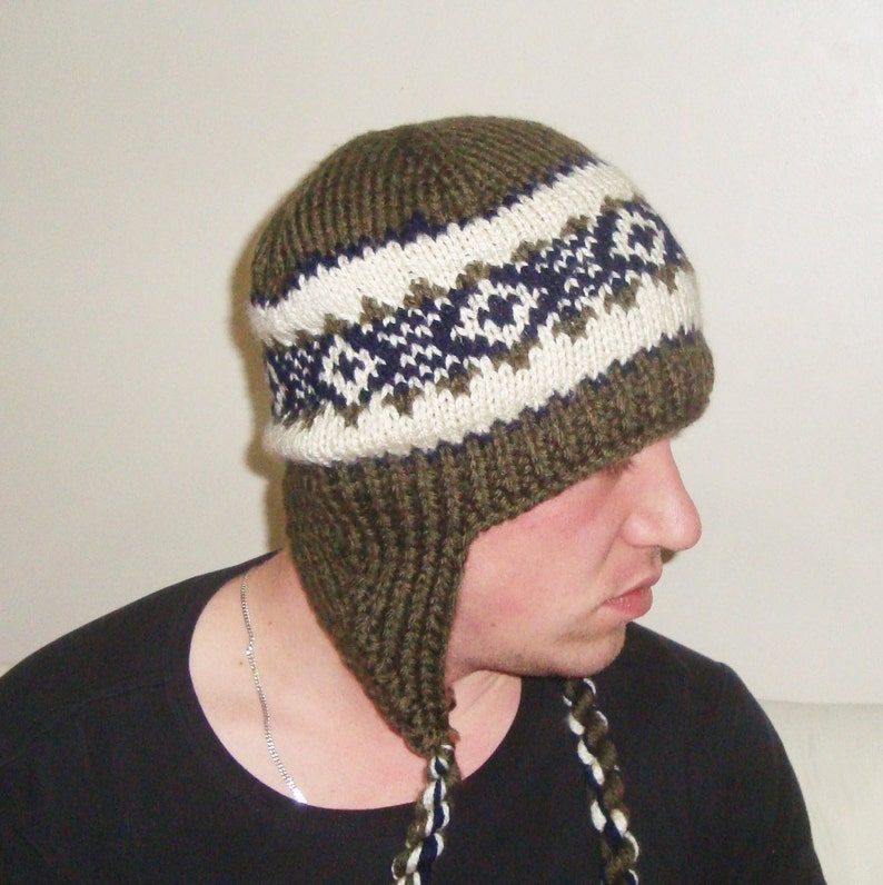 efd1d246455 Hand Knit Hat Green Mens Hat with Ear flap winter hat men