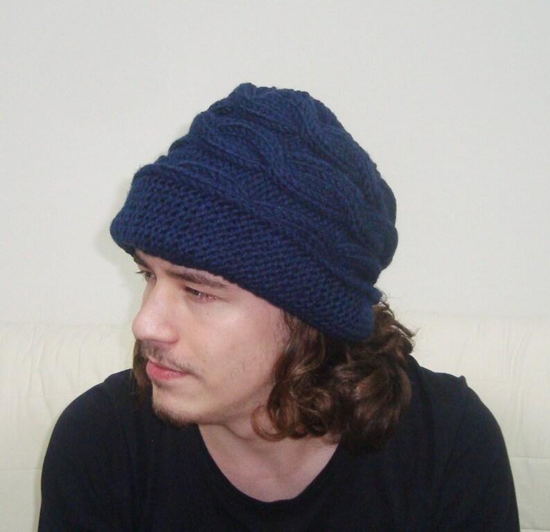 b8b008ee145 Hand Knit Hat Men Blue Fedora Hat in Navy Blue Knit Hat