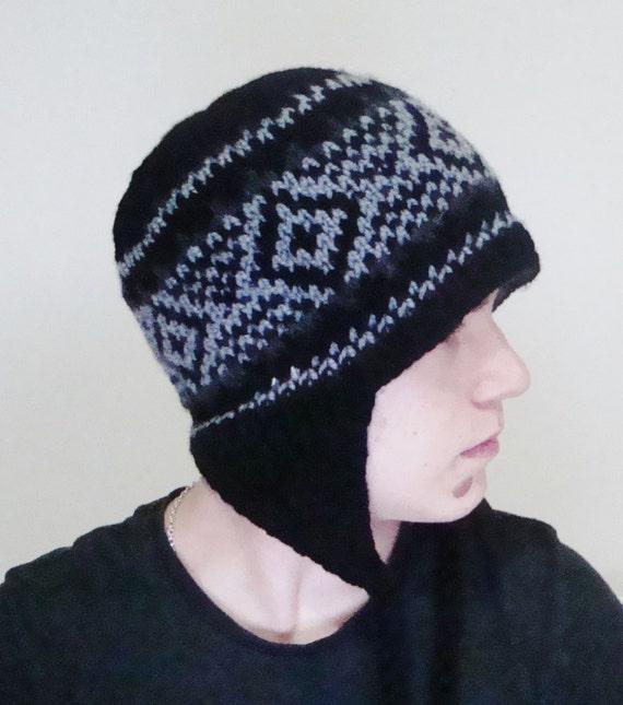 709c6948d3d11 Black Men s Winter Hat Ear Flap Hat Hand Knit Hat Mens