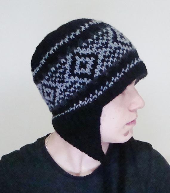 ac59897be68 Black Men s Winter Hat Ear Flap Hat Hand Knit Hat Mens