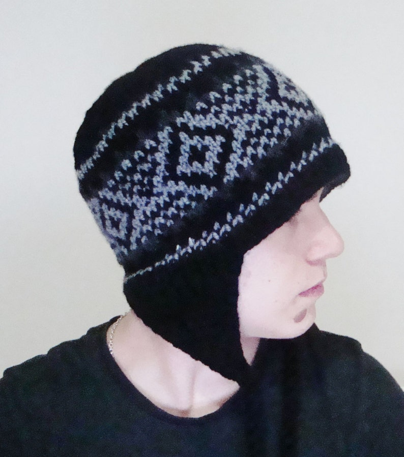 7fcf1d3edc5 Black Men s Winter Hat Ear Flap Hat Hand Knit Hat Mens