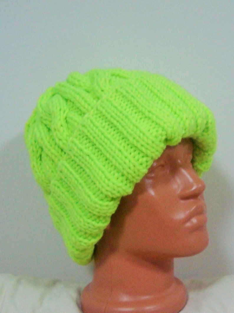 2a7b223cadca52 Hand Knit Hat Men fishing gifts Yellow Beanie Hat in Neon   Etsy