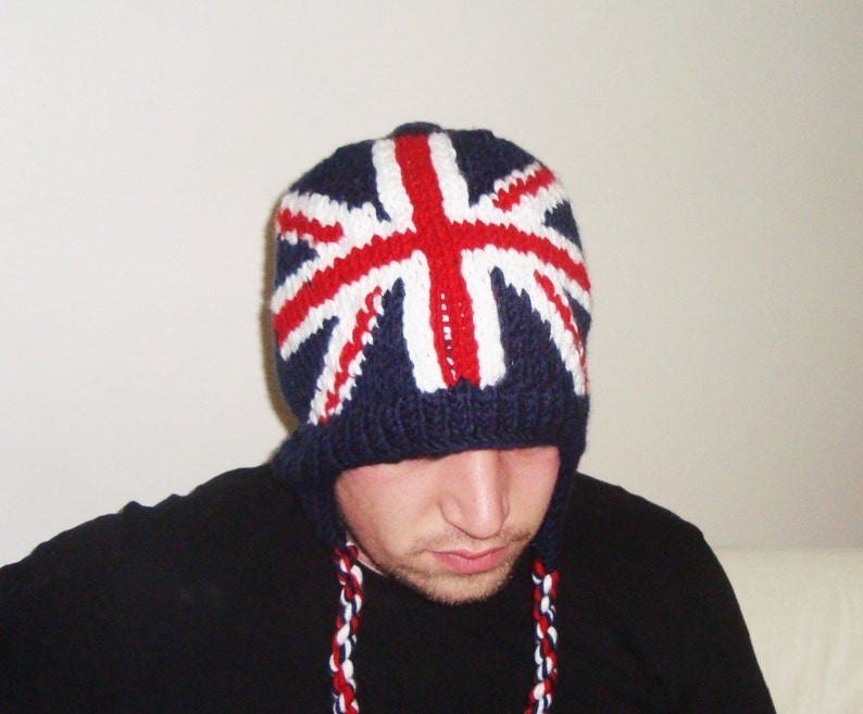 20fb6289f7b38 Britain Flag Hat Man Winter Hand Knit Knitted Red White Blue   Etsy