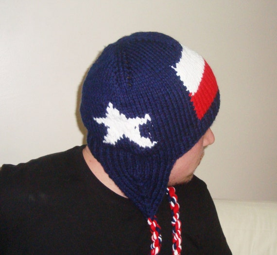 6801ac26 Texas Flag Hat Mens Hats Winter Texan Gifts Gift For Him Men Hand Knit Hat  With Flaps Ear Flap
