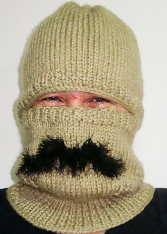 Adult Balaclava Mens Winter Hat XL With Mustache Moustache  f7516e72d14