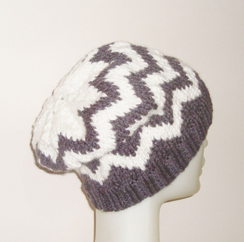 372e08bd16eee Gray And White Chevron Knit Hat Womens Winter Slouchy Beanie