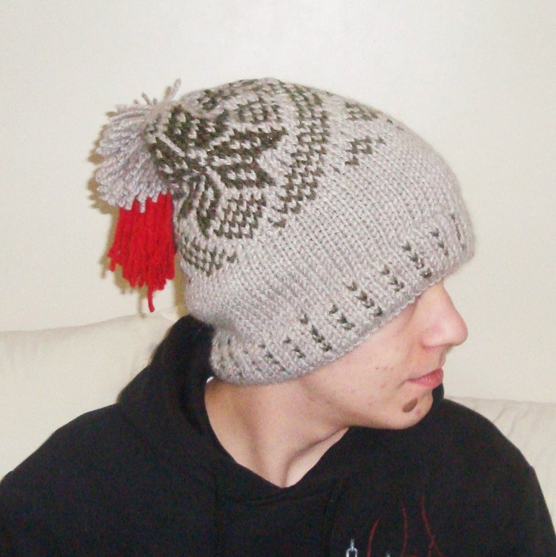 7d06e07f616 Hand Knit Hat Men Beige Slouchy Hat in Beige and Green Knit