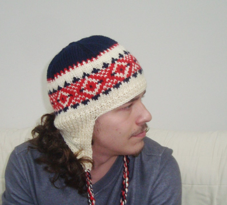 33f09430ab7 Hand Knit Hat Men Ear Flap Hat in Cream Red Blue Wool Knit