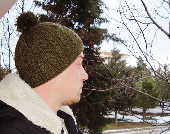 224fdc12717 Green Mens Winter Hat with pom pom hand knit knitted mens