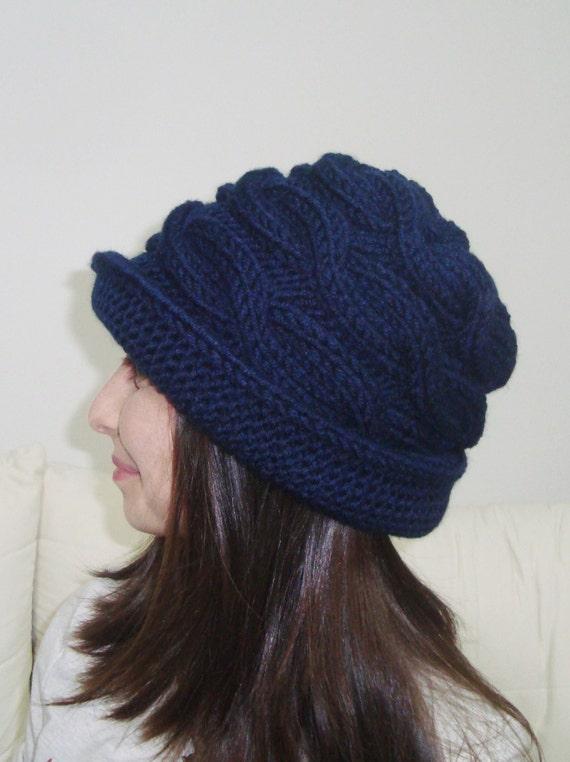 b8b1f0a129 Hand Knit Hat Women Blue Cloche Hat in Navy Blue Knit Hat