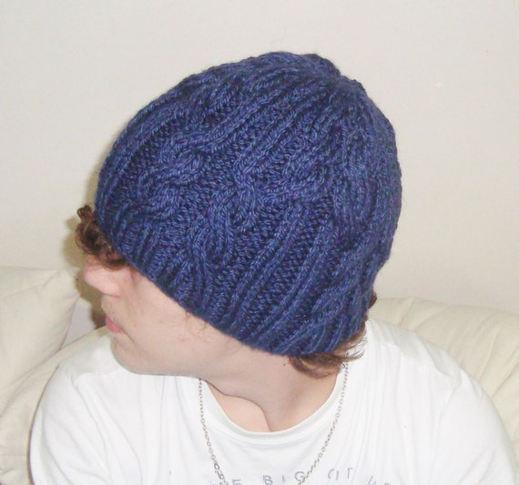 82925b49e35 Navy Blue Mens Beanie Hat Cable Knit Beanie for Mens Winter
