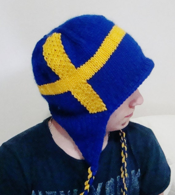 Sweden Flag Beanie Hat with Ear Flap Winter Hand Knitted for  9c5a07a6596