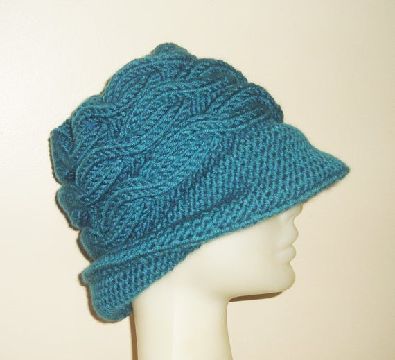 Womens Hats Cloche Winter Hat Teal Hat With Brims Wide Brim  f0698a11b3b