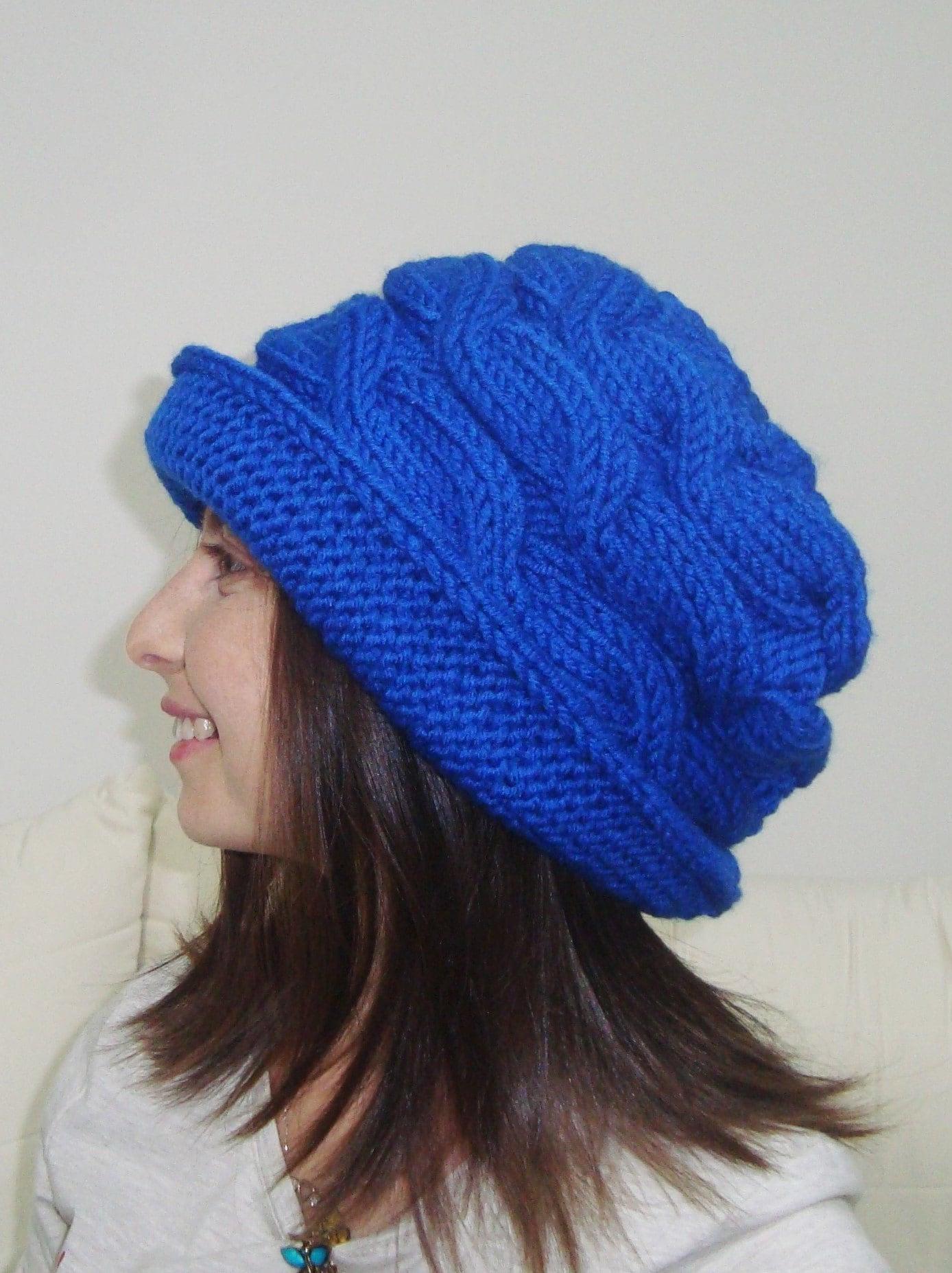 Hand Knit Hat Women Blue Cloche Hat in Royal Blue Knit Hat  6ce33d16f3d