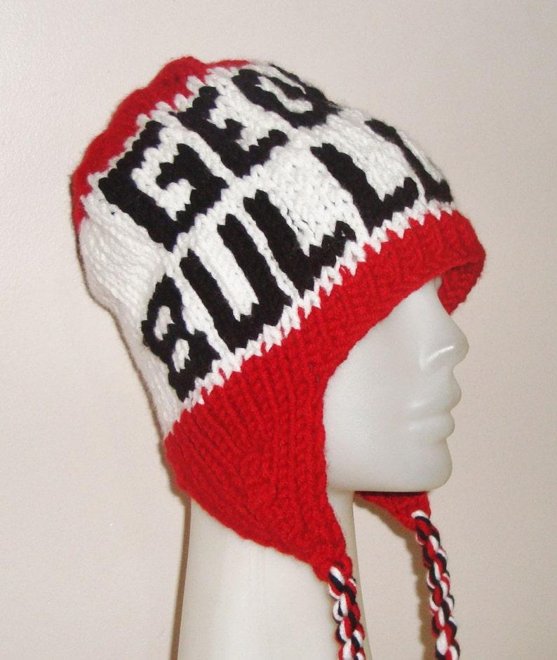 dea1dcf8780a5 Custom Knit Hat Ear flaps Georgia Bulldogs Hat Men Women Hand