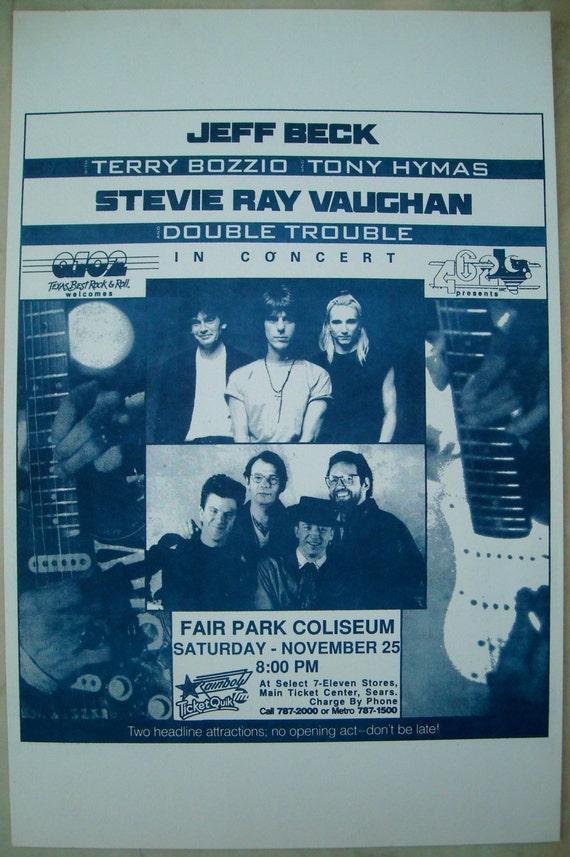 Jeff Beck Austin TX Stevie Ray Vaughan 1989 Concert Poster