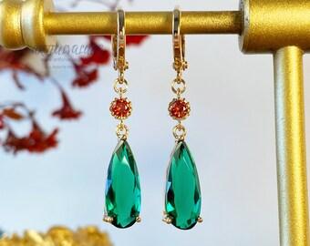 Jenkins Emerald Green Earrings Hypoallergenic Dangle and Drop Howl Earrings Engagement Earrings Wedding Earrings Gift Anime Earrings Cosplay