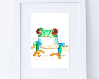 Frog - 5x7 ORIGINAL Watercolor Painting, Nursery Art, Christmas Gift