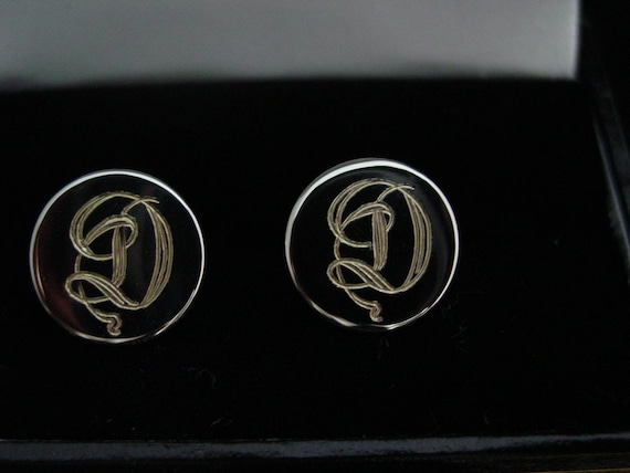 Custom Hand Engraved  Monograms or your initials Sterling Silver Cufflinks