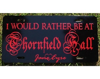 License Plate Jane Eyre Bronte Thornfield Hall Car Tag