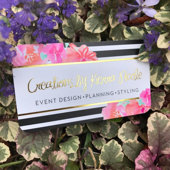 Gold Foil Business Cards With Silk Laminate Event Planner Etsy