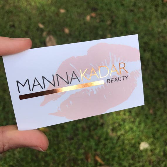 Rose Gold Foil Business Cards Perfect For Makeup Artist Hair Stylist Microblading Balayage Cosmetologist Nail Artist Hair Salon