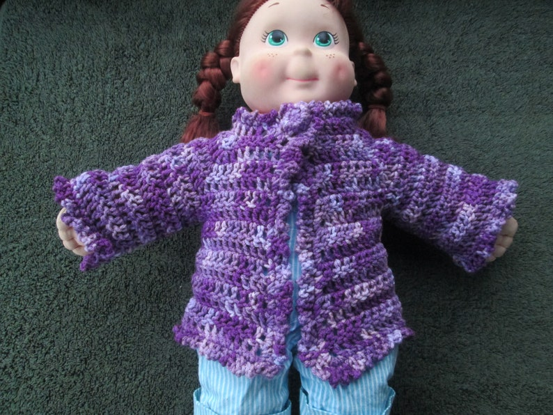 9 Months Baby Sweater 18 Months Baby Girl Purple Sweater Crocheted by SuzannesStitches 3 Months Baby Sweater Newborn Baby Girl Sweater