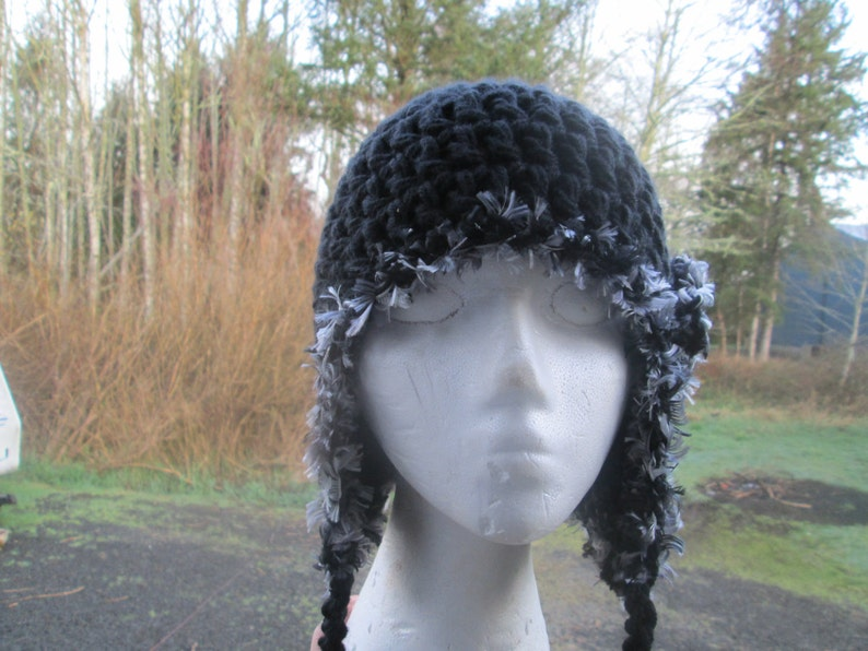 Black Formal Hat Teen Black Fur Earflap Hat Crocheted by SuzannesStitches Teen Earflap Hat Childrens Earflap Hats Girl/'s Earflap Hat