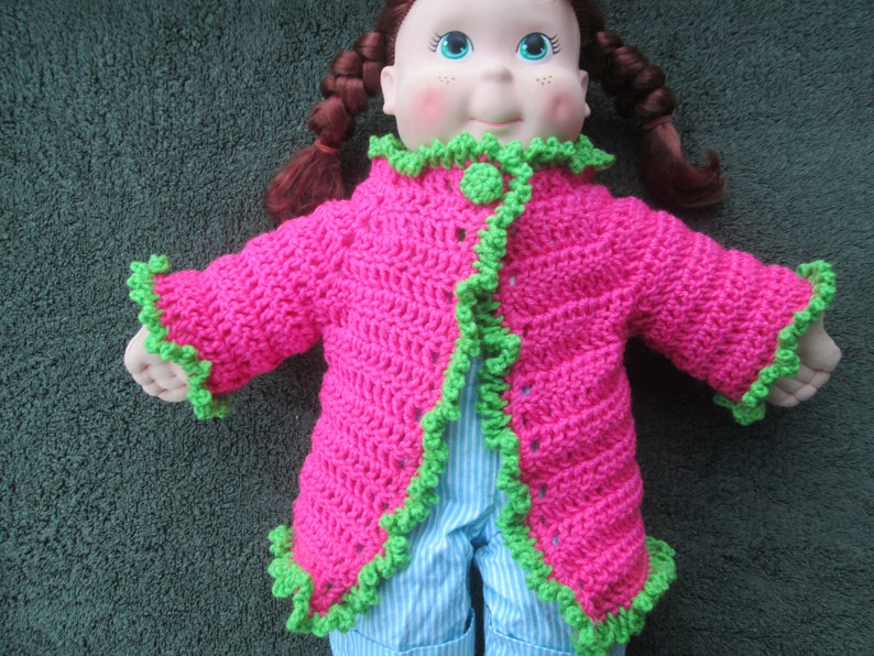 12 Months Baby Girl Pink /& Green Sweater Crocheted by SuzannesStitches Preemie Pink Baby Girl Cardigan 6 Month Baby Girl Pink Sweater