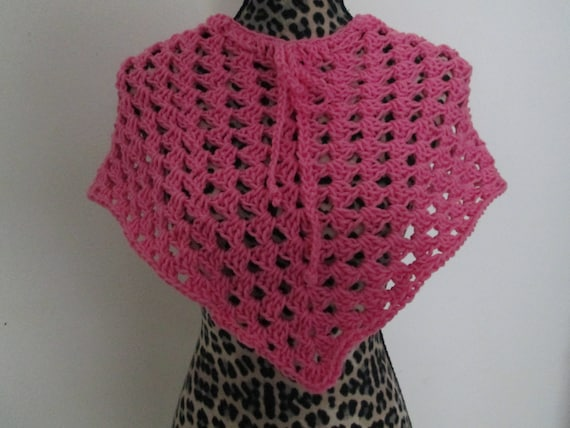 a6f372d4757b Girl s Pink Acrylic Poncho Crocheted by SuzannesStitches