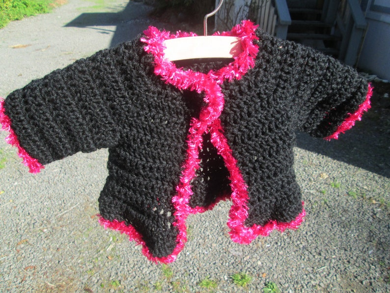 311d5dbaa 6 Months 3T Baby Girl Black and Pink Sweater Crocheted by