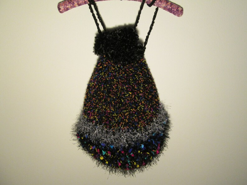 Black Rucksac Teen Novelty Black Fur Backpack Crocheted by SuzannesStitches Girl Unique Backpack Handmade Backpack Novelty Teen Backpack