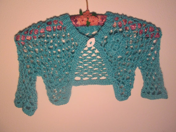 3b6e30b9625f 6 Month to 3T Baby Girl Turqouise Bolero Crocheted by