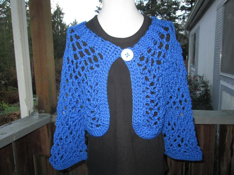 1e68a5f49fae Girl s 10-14 Turquoise Blue Bolero Crocheted by