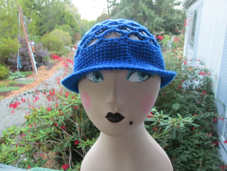 Ladies Blue Hat Women/'s Formal Hat ToddlerGirlTeenWomen Blue Cloche Hat Crocheted by SuzannesStitches Girl/'s Blue Hat Teen Sun Hat