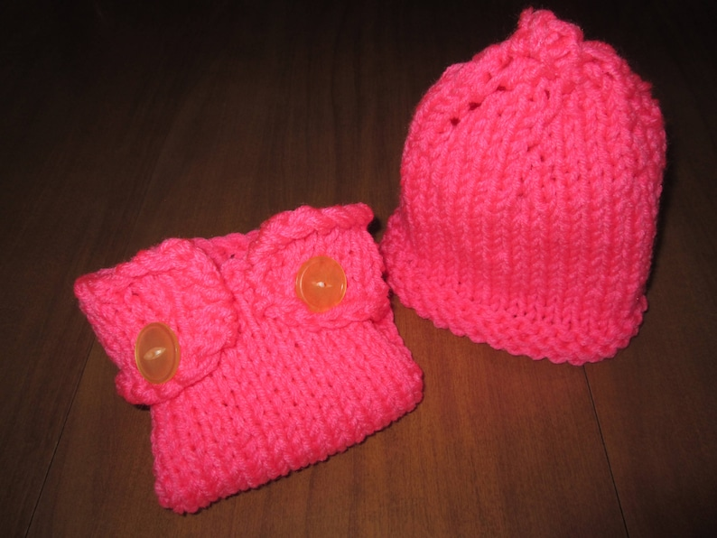 Pink Diaper Cover and Hat Set Baby Diaper Soaker Newborn to 6 Months Baby Girl Pink Diaper Cover and Hat Set Knitted by SuzannesStitches