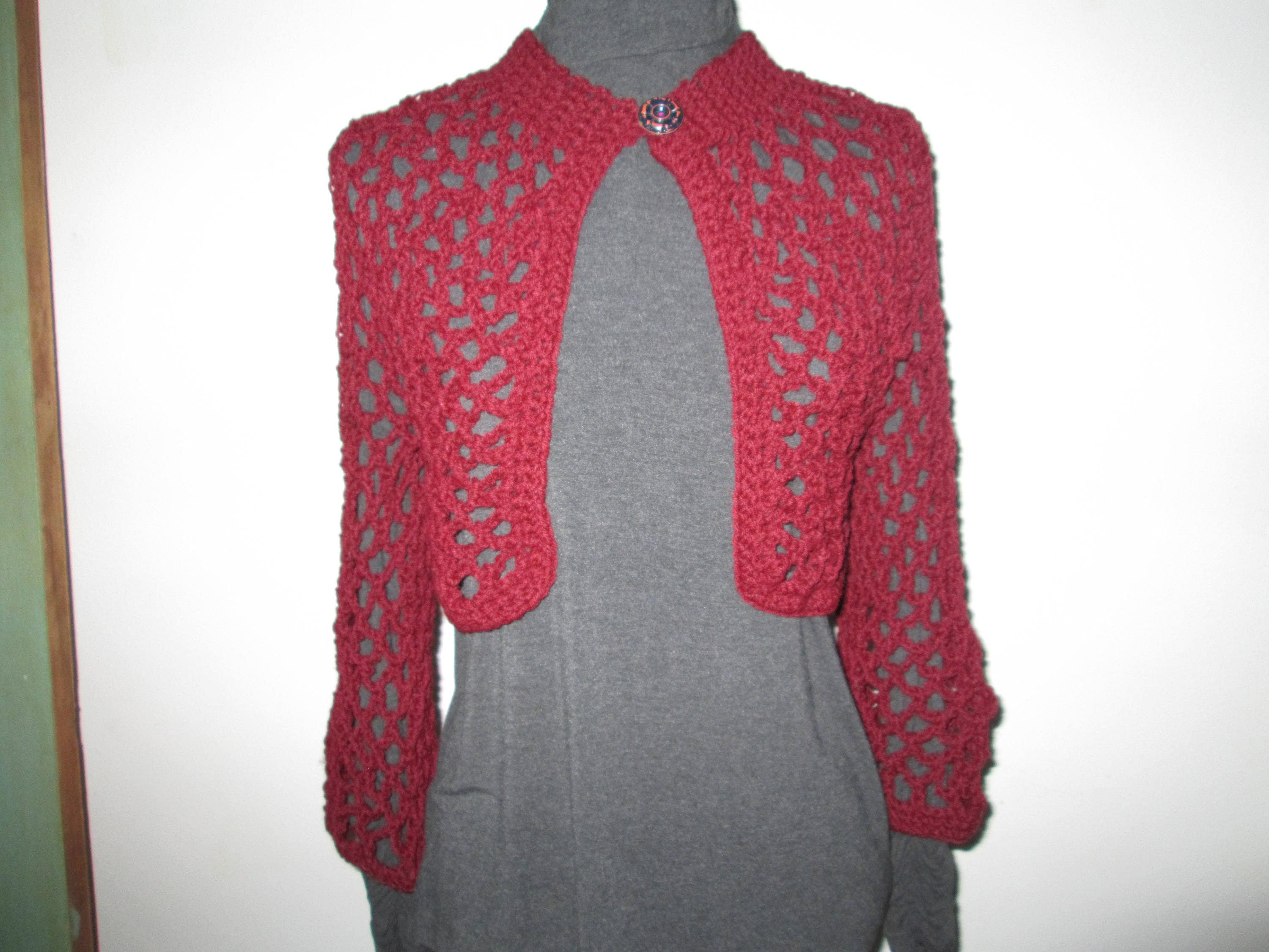 87386a8fef94 Acrylic Burgundy Womens Sweater Crocheted by SuzannesStitches