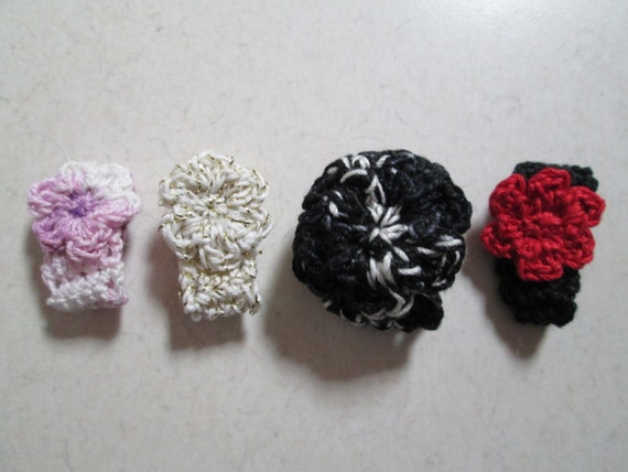 Free USA Shipping Black Crochet Flower Ring Cotton Fiber Art Rings Red Handmade Cotton Ring Cotton Rings Crocheted by SuzannesStitches