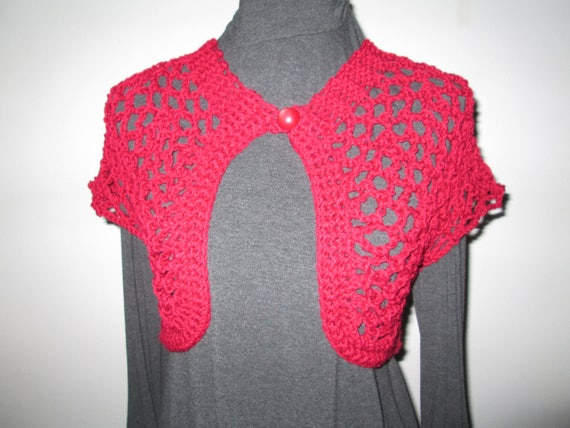 03f82a257801 Girls and Teens Red Bolero Crocheted by SuzannesStitches Teen