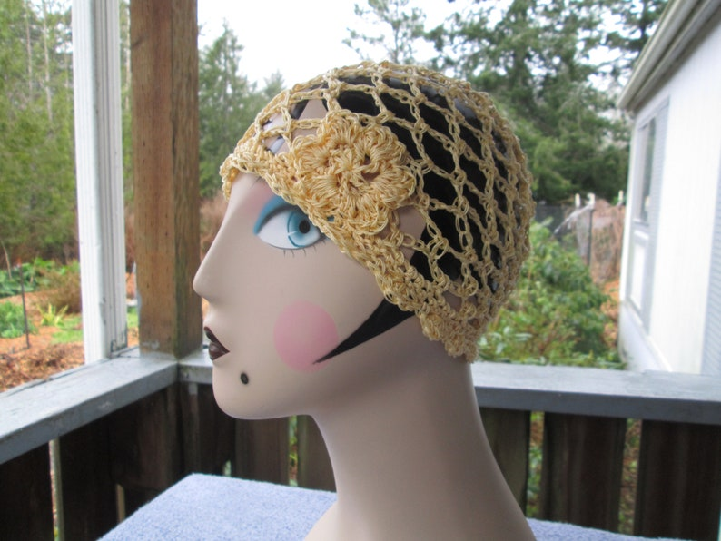 6879f34cfcce Woman s Yellow Cotton Spring Hat Crocheted by