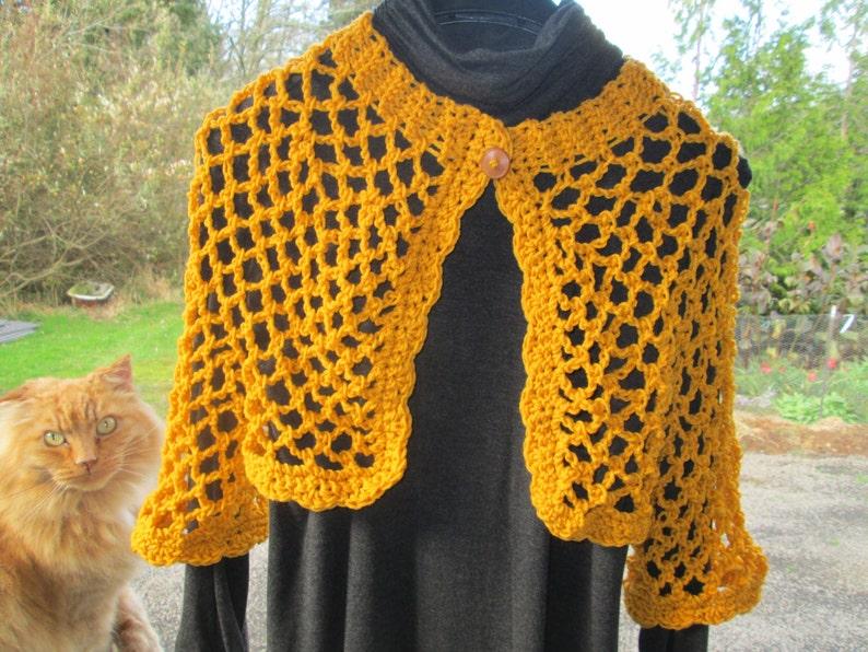 9b442b135b8a Girl s 6-14 Yellow Bolero Crocheted by SuzannesStitches