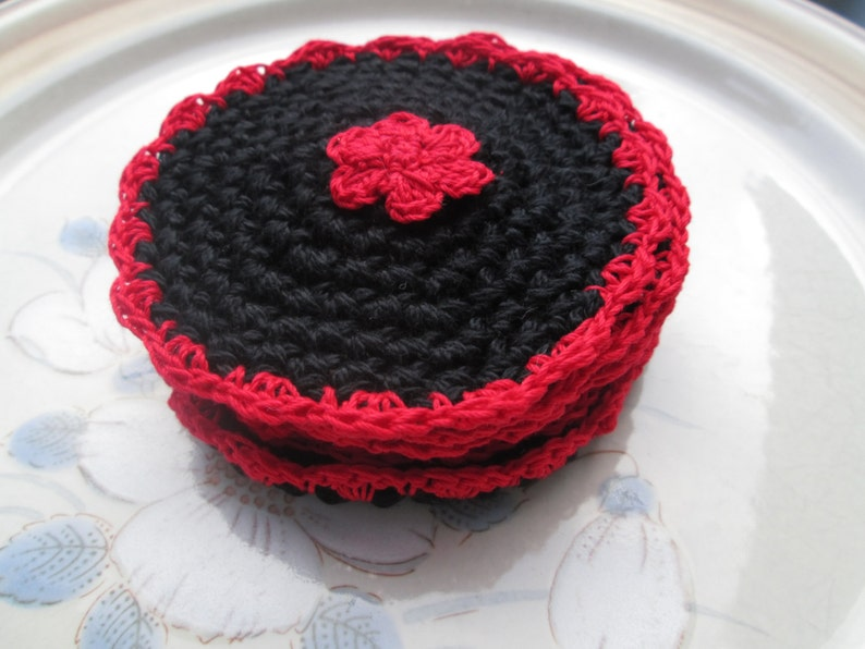 3.5 Set of 6 Coaster Set Furniture Protectors Black and Red Coaster Set of 6 Crocheted by SuzannesStitches Black and Red Coaster Set