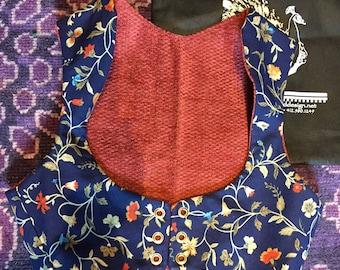 Blue floral and salmon velvet Turkish vest  reversible, belly dance, tribal, ATS, SCA, rennfaire, burningman