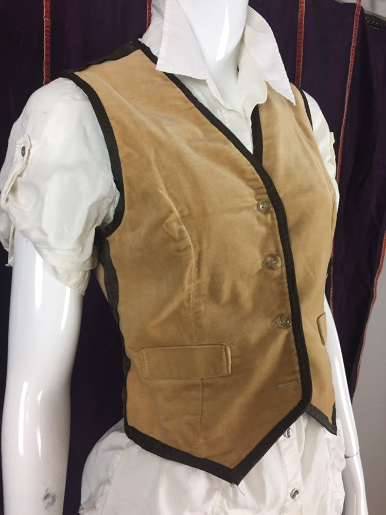 Woman/'s up-cycled tan velvet vest with brown ribbon trim size 6 or small steampunk victorian,